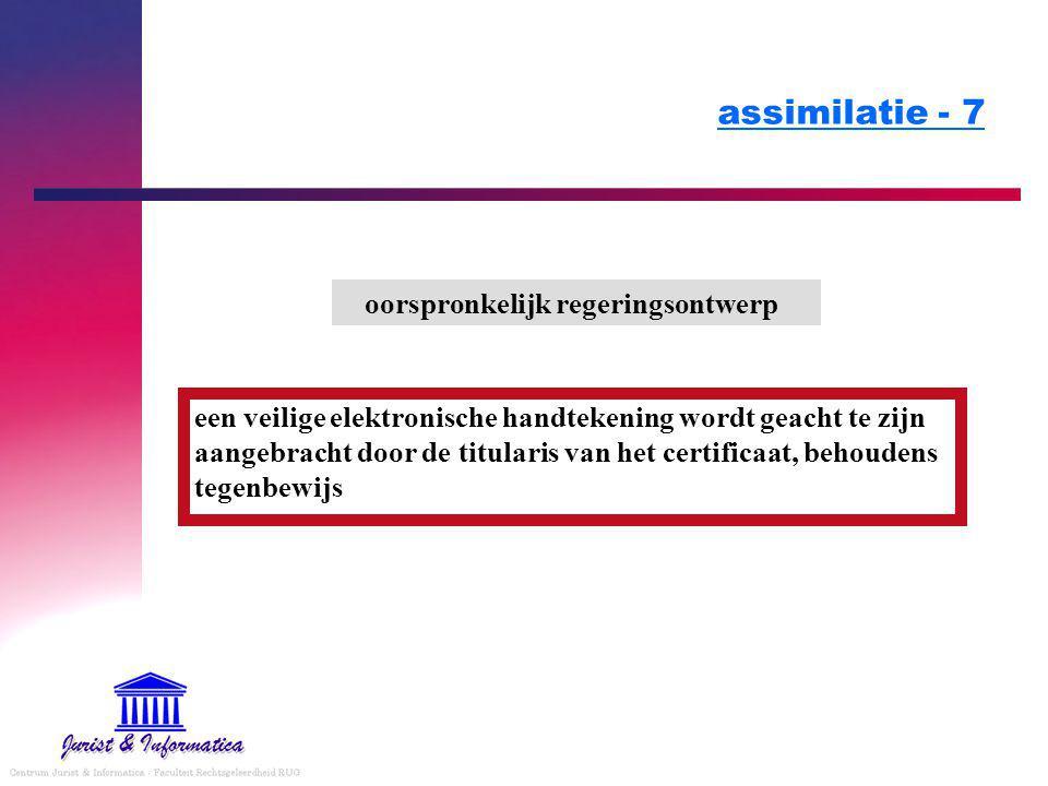 assimilatie - 7 oorspronkelijk regeringsontwerp een veilige elektronische handtekening wordt geacht te zijn aangebracht door de titularis van het certificaat, behoudens tegenbewijs