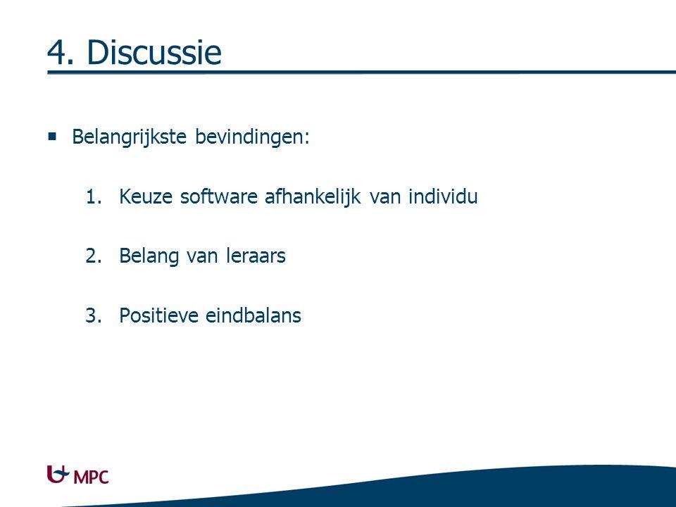 4. Discussie  Belangrijkste bevindingen: 1.Keuze software afhankelijk van individu 2.Belang van leraars 3.Positieve eindbalans
