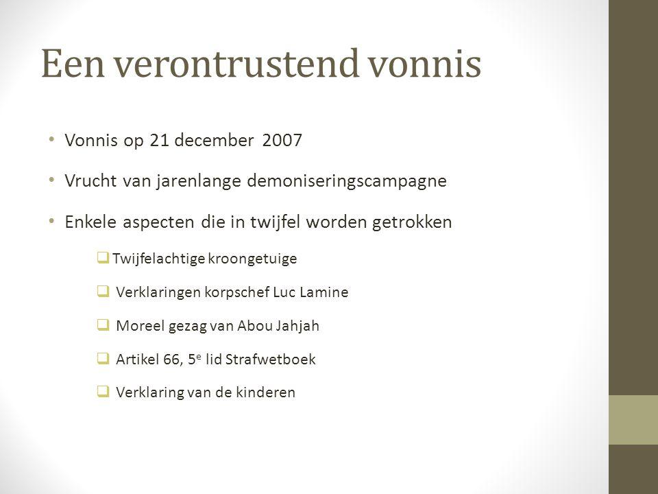 Een verontrustend vonnis Vonnis op 21 december 2007 Vrucht van jarenlange demoniseringscampagne Enkele aspecten die in twijfel worden getrokken  Twij