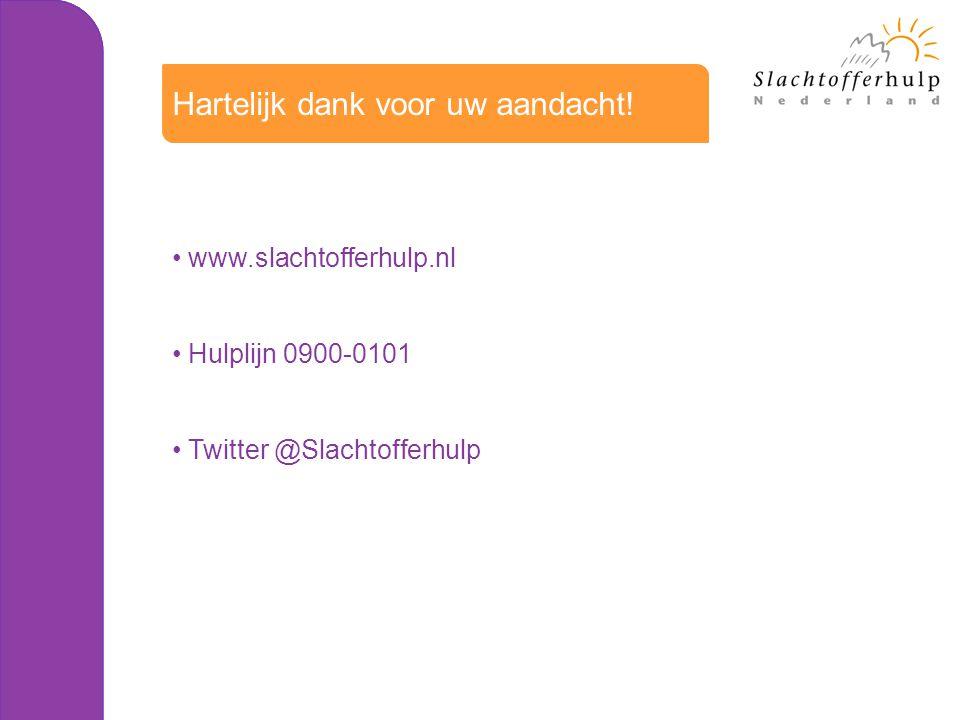Hartelijk dank voor uw aandacht! www.slachtofferhulp.nl Hulplijn 0900-0101 Twitter @Slachtofferhulp