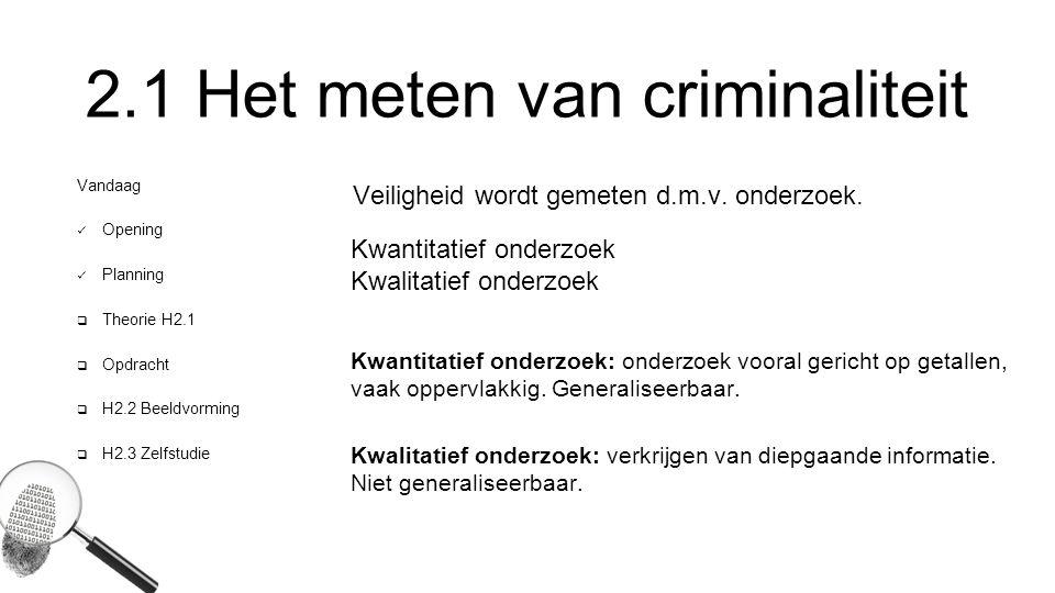2.1 Het meten van criminaliteit Vandaag Opening Planning  Theorie H2.1  Opdracht  H2.2 Beeldvorming  H2.3 Zelfstudie Veiligheid wordt gemeten d.m.