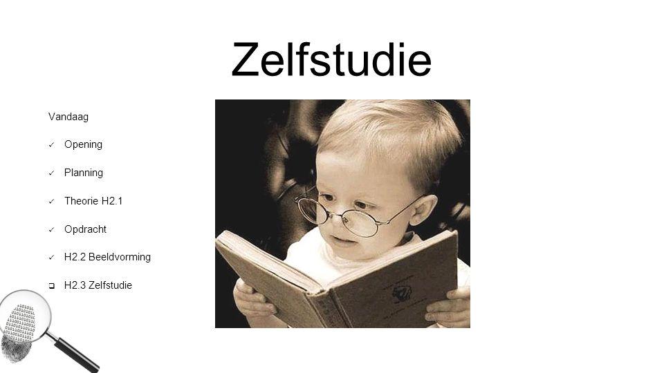 Zelfstudie Vandaag Opening Planning Theorie H2.1 Opdracht H2.2 Beeldvorming  H2.3 Zelfstudie