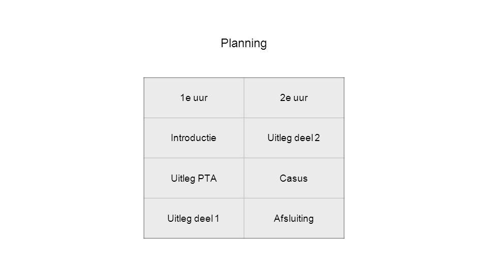 Planning 1e uur2e uur IntroductieUitleg deel 2 Uitleg PTACasus Uitleg deel 1Afsluiting