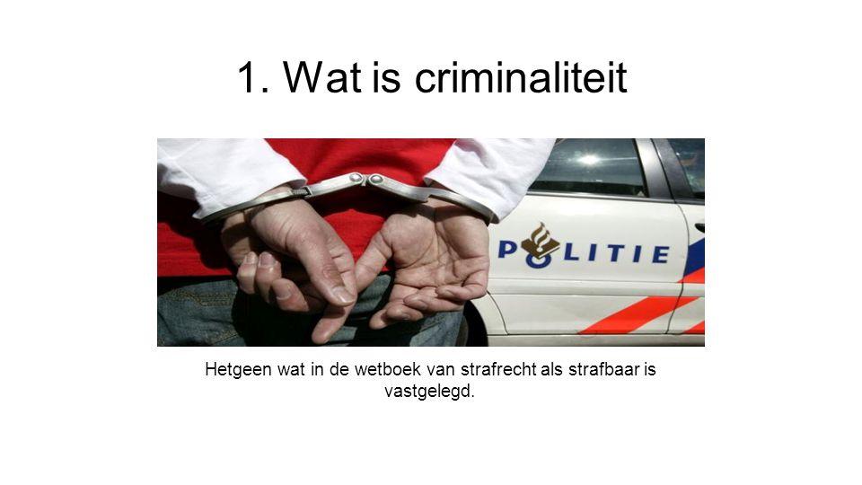 1. Wat is criminaliteit Hetgeen wat in de wetboek van strafrecht als strafbaar is vastgelegd.
