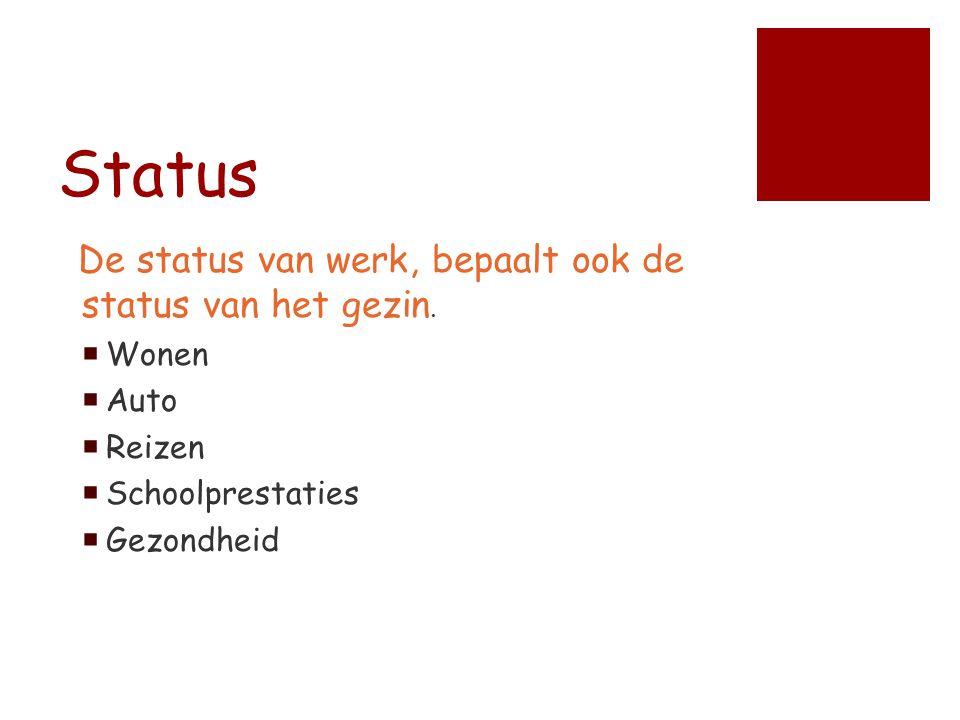 Status De status van werk, bepaalt ook de status van het gezin.  Wonen  Auto  Reizen  Schoolprestaties  Gezondheid
