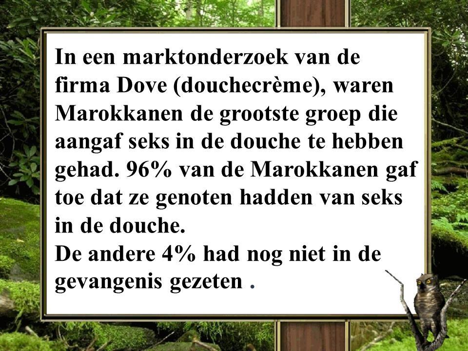 In een marktonderzoek van de firma Dove (douchecrème), waren Marokkanen de grootste groep die aangaf seks in de douche te hebben gehad. 96% van de Mar