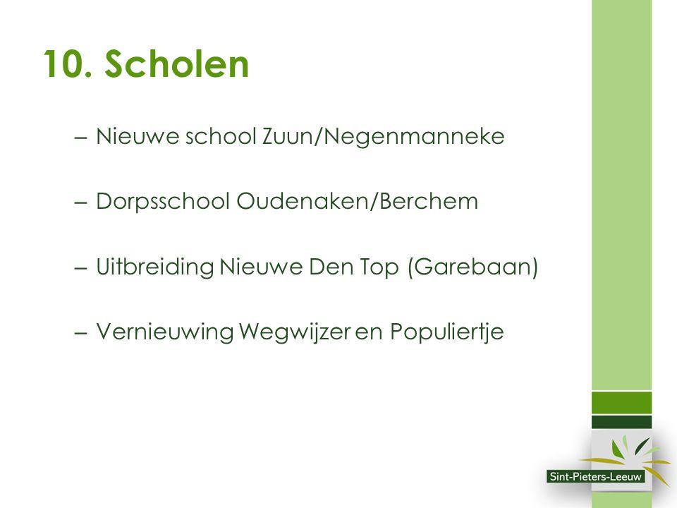 10. Scholen – Nieuwe school Zuun/Negenmanneke – Dorpsschool Oudenaken/Berchem – Uitbreiding Nieuwe Den Top (Garebaan) – Vernieuwing Wegwijzer en Popul