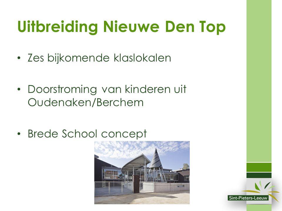 Uitbreiding Nieuwe Den Top Zes bijkomende klaslokalen Doorstroming van kinderen uit Oudenaken/Berchem Brede School concept