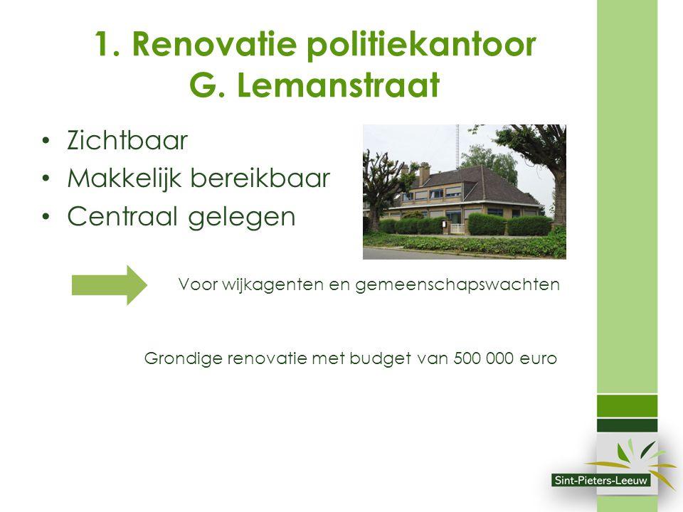 Zichtbaar Makkelijk bereikbaar Centraal gelegen Voor wijkagenten en gemeenschapswachten Grondige renovatie met budget van 500 000 euro 1. Renovatie po