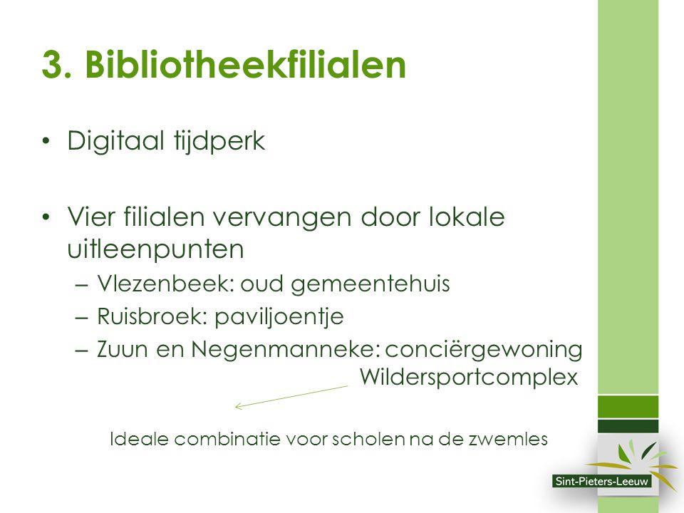 3. Bibliotheekfilialen Digitaal tijdperk Vier filialen vervangen door lokale uitleenpunten – Vlezenbeek: oud gemeentehuis – Ruisbroek: paviljoentje –