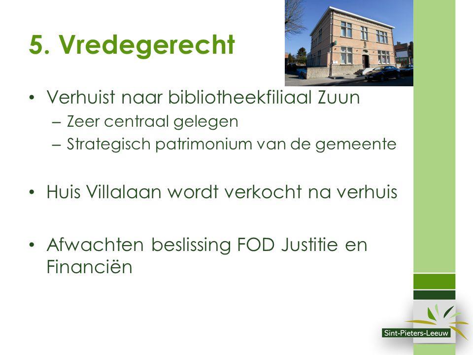 5. Vredegerecht Verhuist naar bibliotheekfiliaal Zuun – Zeer centraal gelegen – Strategisch patrimonium van de gemeente Huis Villalaan wordt verkocht