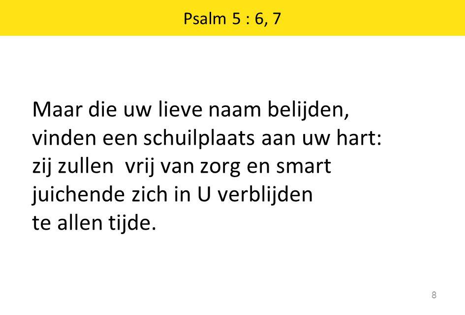 Psalm 5 : 6, 7 8 Maar die uw lieve naam belijden, vinden een schuilplaats aan uw hart: zij zullen vrij van zorg en smart juichende zich in U verblijden te allen tijde.