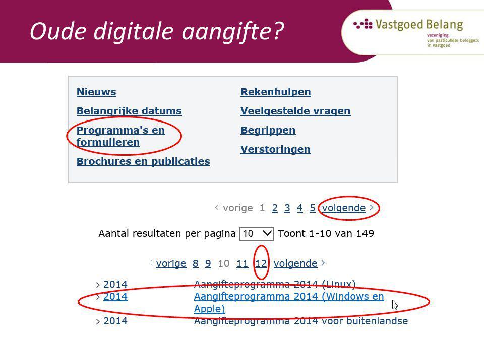 Oude digitale aangifte?