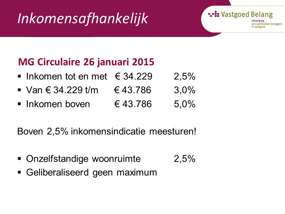 Inkomensafhankelijk MG Circulaire 26 januari 2015  Inkomen tot en met € 34.2292,5%  Van € 34.229 t/m € 43.7863,0%  Inkomen boven € 43.7865,0% Boven
