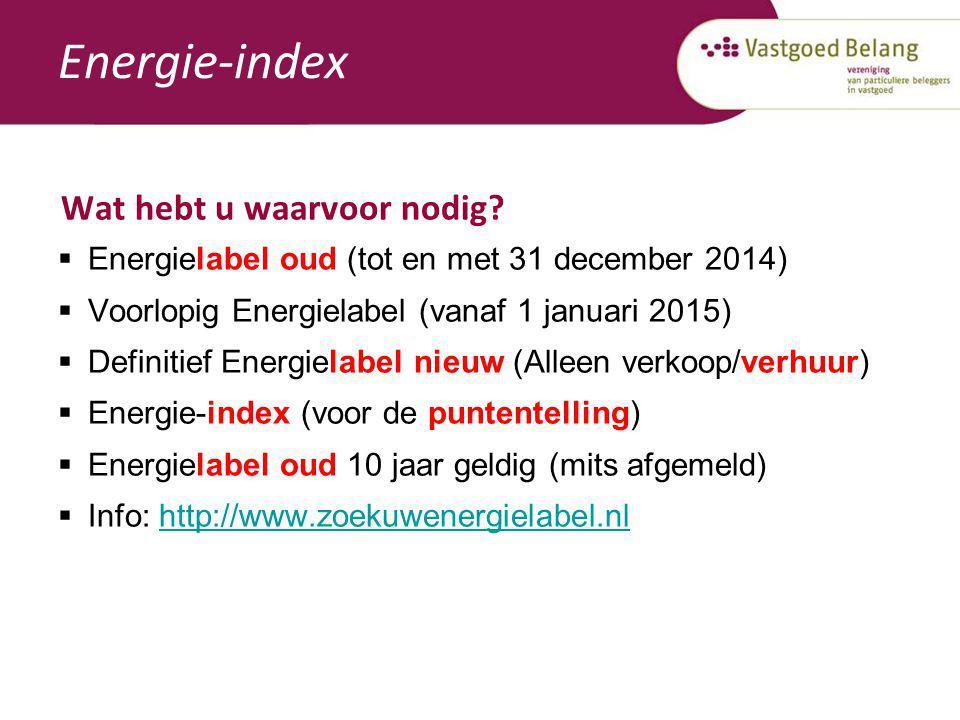 Energie-index Wat hebt u waarvoor nodig?  Energielabel oud (tot en met 31 december 2014)  Voorlopig Energielabel (vanaf 1 januari 2015)  Definitief