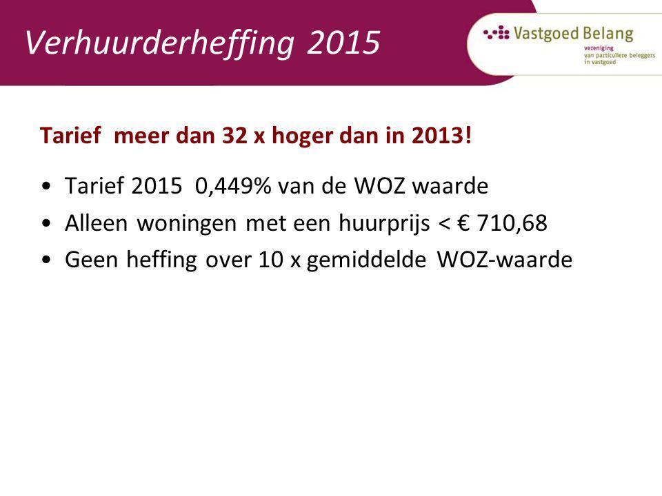 Verhuurderheffing 2015 Tarief meer dan 32 x hoger dan in 2013! Tarief 2015 0,449% van de WOZ waarde Alleen woningen met een huurprijs < € 710,68 Geen