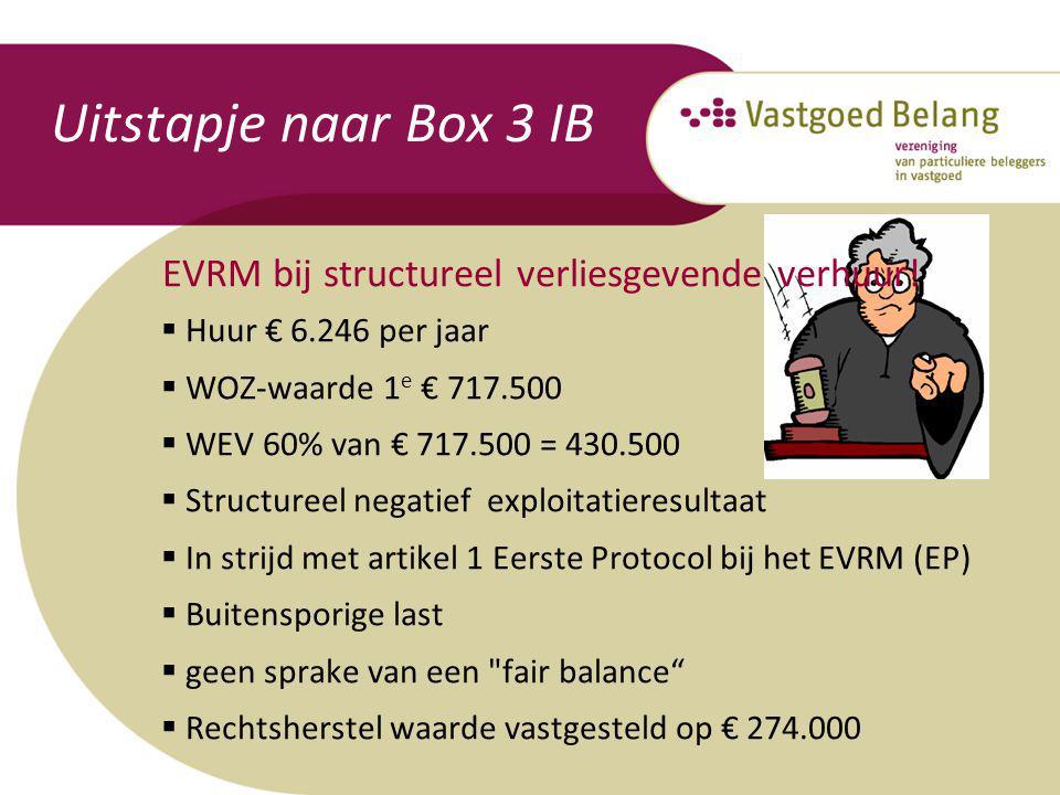 Uitstapje naar Box 3 IB EVRM bij structureel verliesgevende verhuur!  Huur € 6.246 per jaar  WOZ-waarde 1 e € 717.500  WEV 60% van € 717.500 = 430.