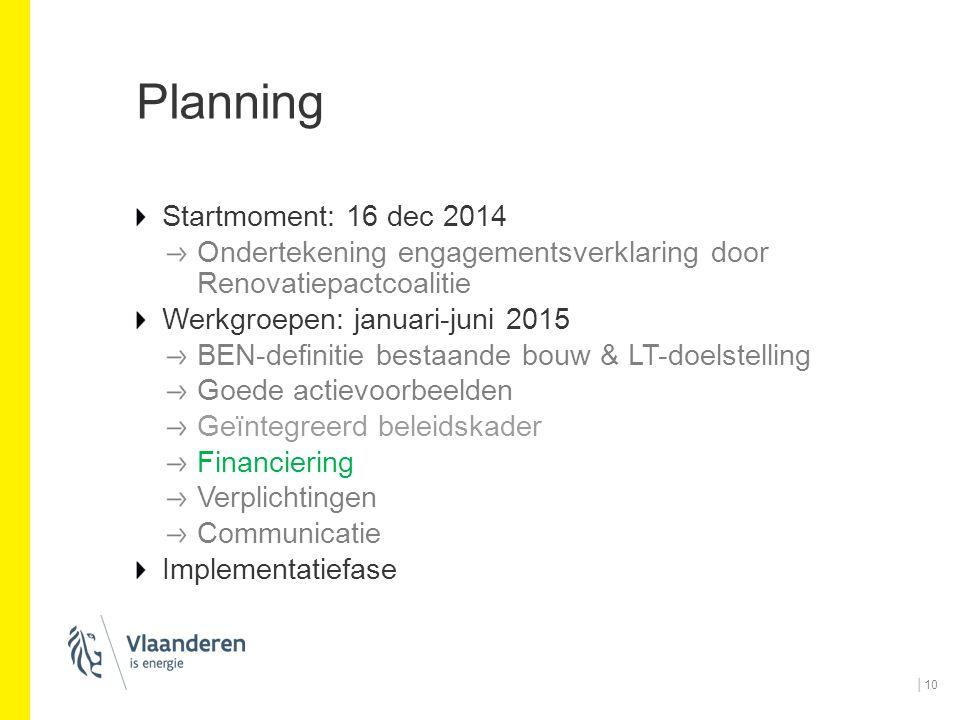Planning Startmoment: 16 dec 2014 Ondertekening engagementsverklaring door Renovatiepactcoalitie Werkgroepen: januari-juni 2015 BEN-definitie bestaand