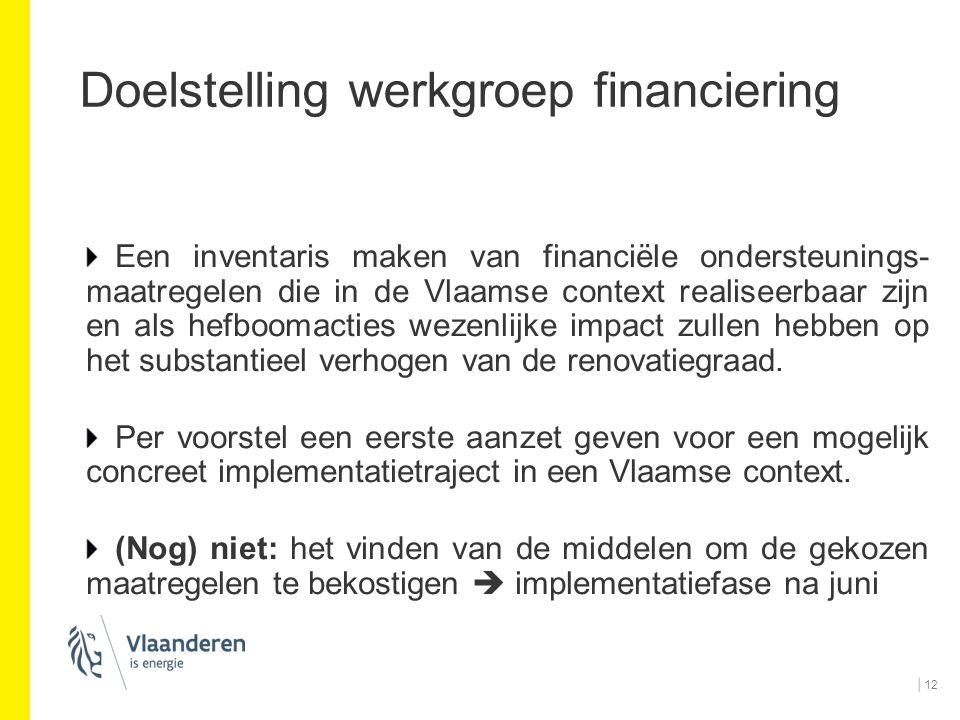 Doelstelling werkgroep financiering Een inventaris maken van financiële ondersteunings- maatregelen die in de Vlaamse context realiseerbaar zijn en al