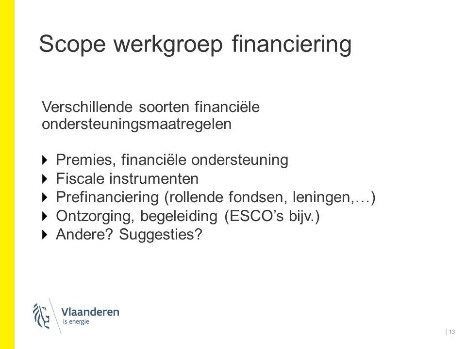 Scope werkgroep financiering Verschillende soorten financiële ondersteuningsmaatregelen Premies, financiële ondersteuning Fiscale instrumenten Prefina