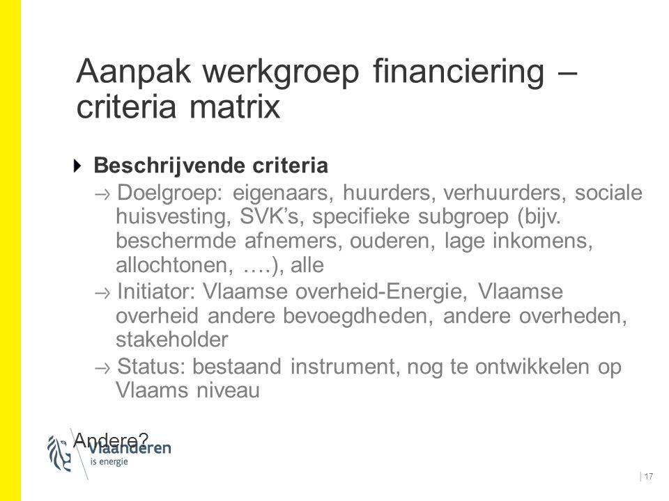Aanpak werkgroep financiering – criteria matrix Beschrijvende criteria Doelgroep: eigenaars, huurders, verhuurders, sociale huisvesting, SVK's, specif
