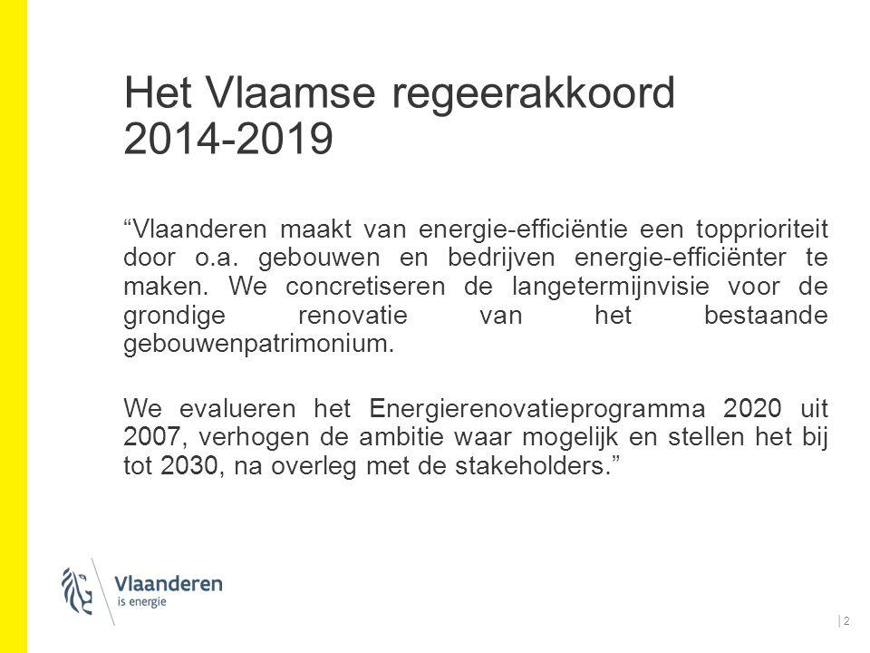 """Het Vlaamse regeerakkoord 2014-2019 """"Vlaanderen maakt van energie-efficiëntie een topprioriteit door o.a. gebouwen en bedrijven energie-efficiënter te"""