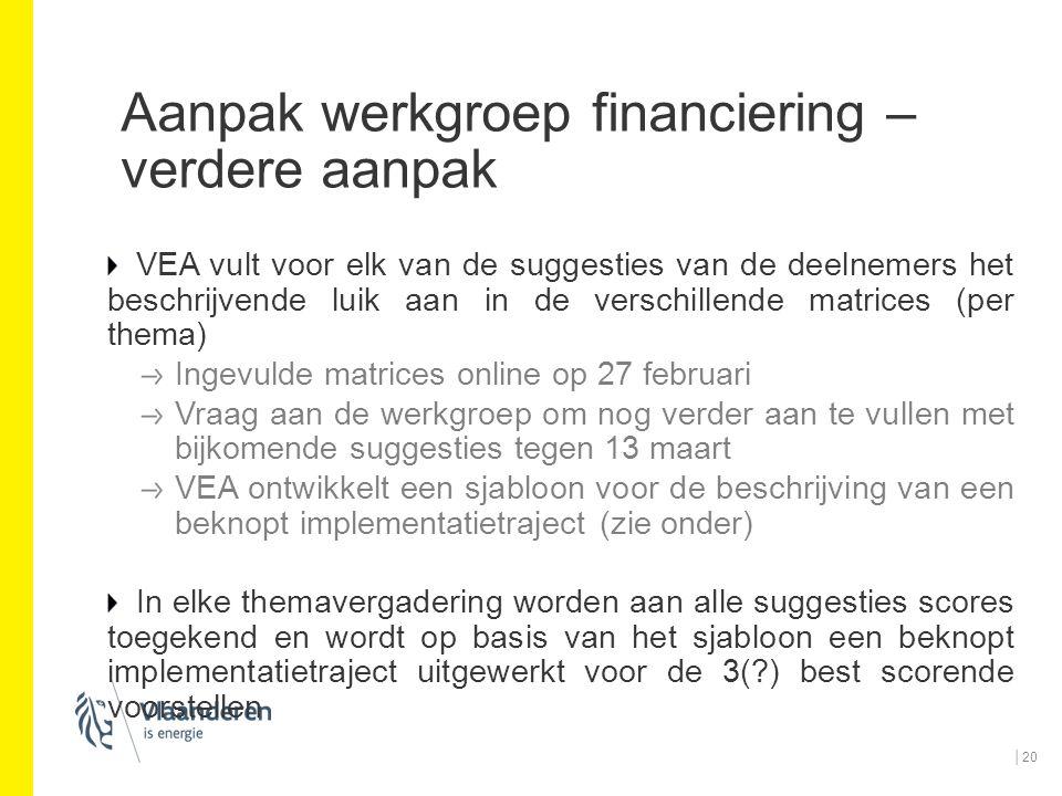 Aanpak werkgroep financiering – verdere aanpak VEA vult voor elk van de suggesties van de deelnemers het beschrijvende luik aan in de verschillende ma