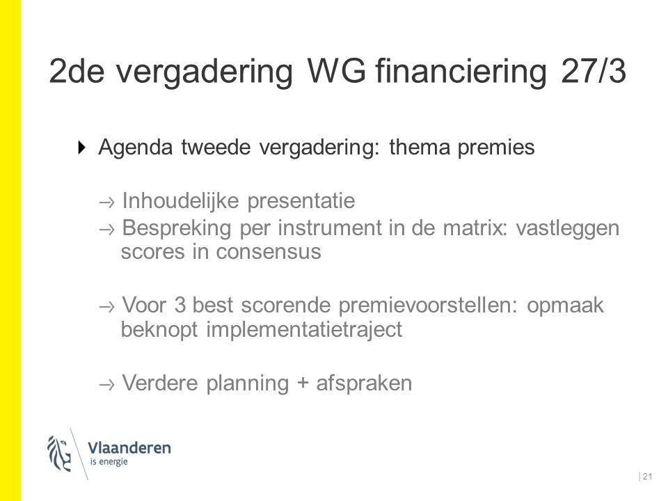 2de vergadering WG financiering 27/3 Agenda tweede vergadering: thema premies Inhoudelijke presentatie Bespreking per instrument in de matrix: vastleg