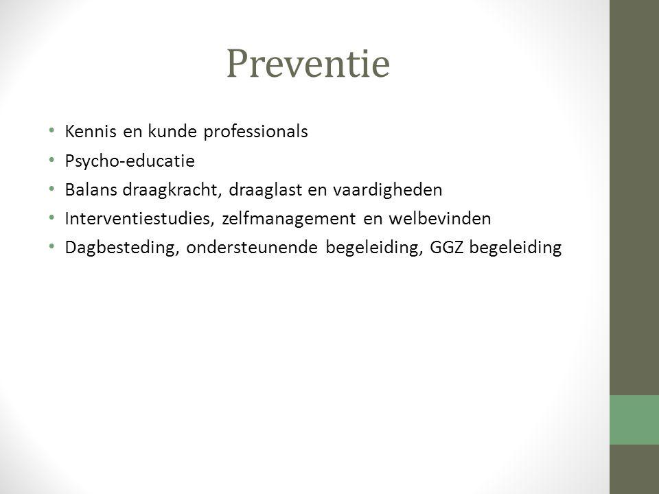 Preventie Kennis en kunde professionals Psycho-educatie Balans draagkracht, draaglast en vaardigheden Interventiestudies, zelfmanagement en welbevinde