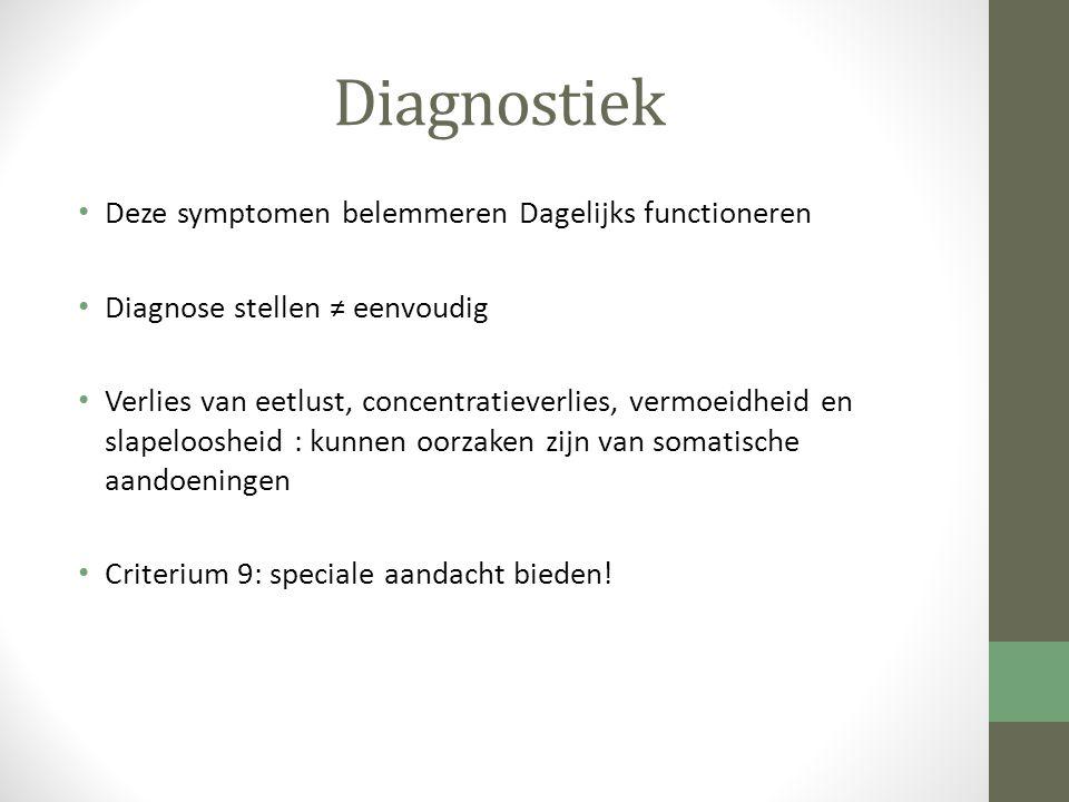 Diagnostiek Deze symptomen belemmeren Dagelijks functioneren Diagnose stellen ≠ eenvoudig Verlies van eetlust, concentratieverlies, vermoeidheid en sl