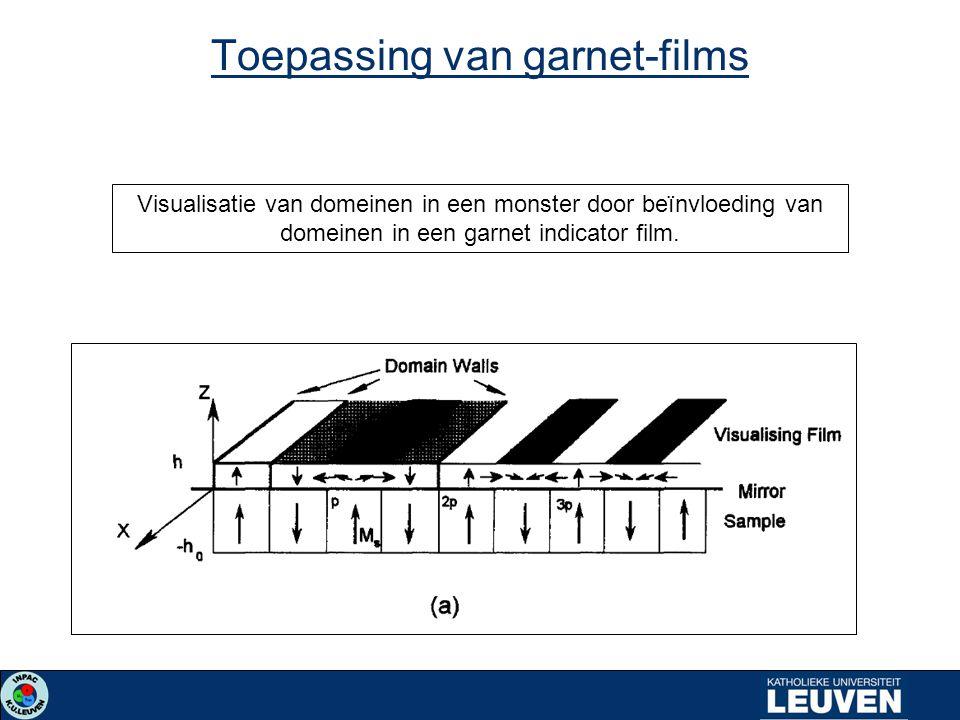 Toepassing van garnet-films Visualisatie van domeinen in een monster door beïnvloeding van domeinen in een garnet indicator film.