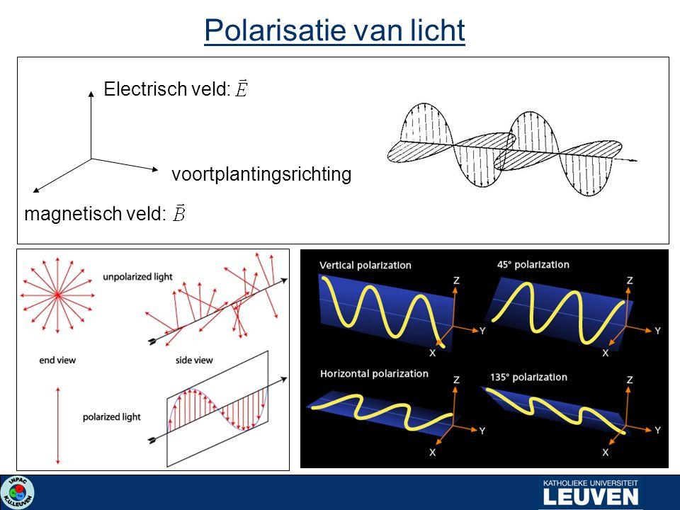 Electrisch veld: magnetisch veld: voortplantingsrichting Polarisatie van licht