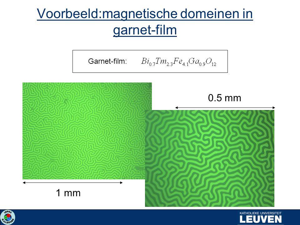 1 mm 0.5 mm Voorbeeld:magnetische domeinen in garnet-film Garnet-film: