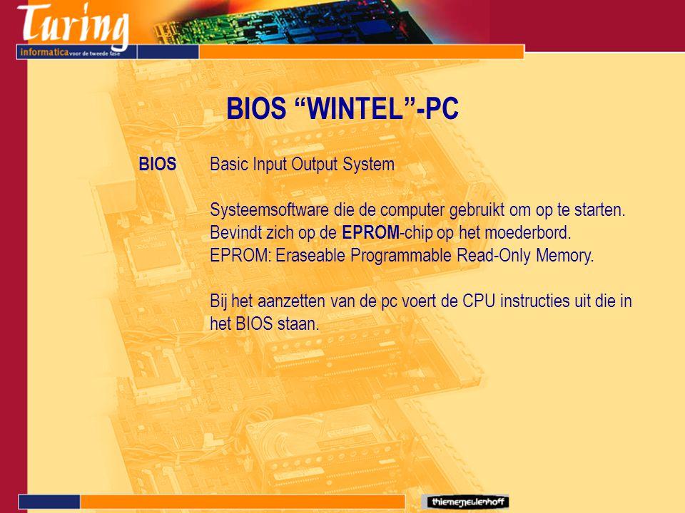 """BIOS """"WINTEL""""-PC BIOS Basic Input Output System Systeemsoftware die de computer gebruikt om op te starten. Bevindt zich op de EPROM -chip op het moede"""