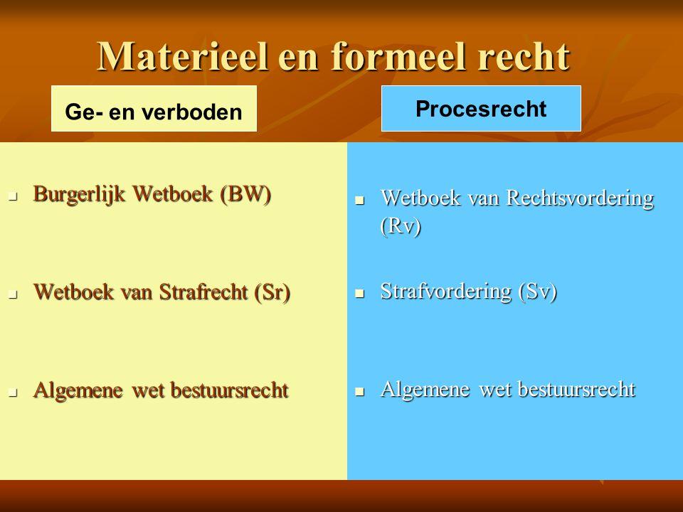 Materieel en formeel recht Burgerlijk Wetboek (BW) Burgerlijk Wetboek (BW) Wetboek van Strafrecht (Sr) Wetboek van Strafrecht (Sr) Algemene wet bestuu
