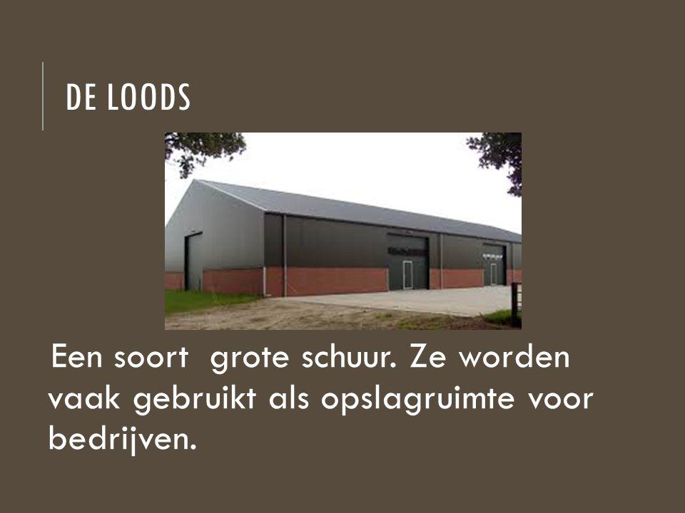 DE LOODS Een soort grote schuur. Ze worden vaak gebruikt als opslagruimte voor bedrijven.