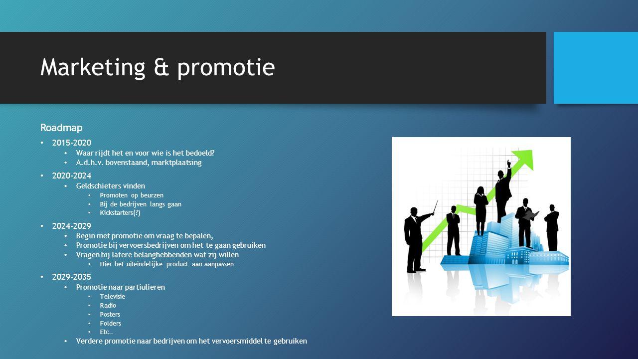 Marketing & promotie Roadmap 2015-2020 Waar rijdt het en voor wie is het bedoeld? A.d.h.v. bovenstaand, marktplaatsing 2020-2024 Geldschieters vinden