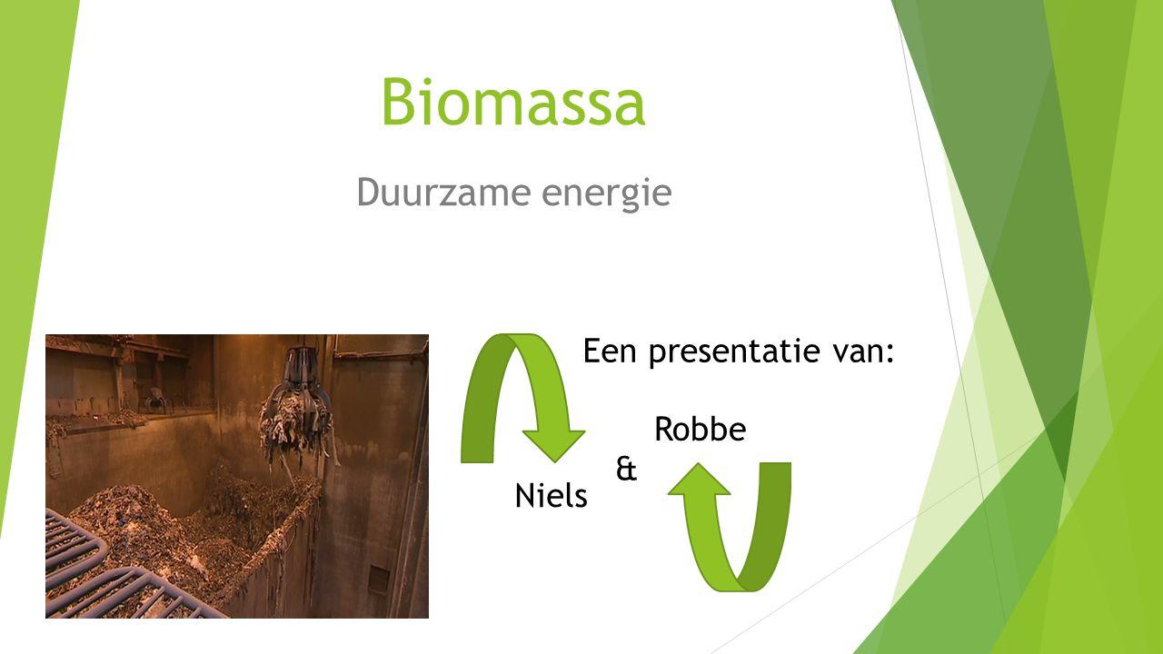 Biomassa Duurzame energie & Robbe Niels Een presentatie van: