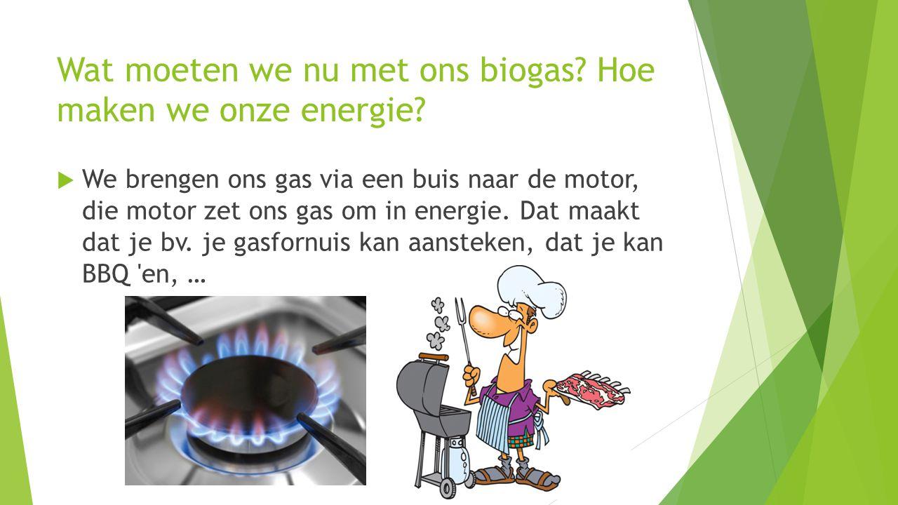 Wat moeten we nu met ons biogas? Hoe maken we onze energie?  We brengen ons gas via een buis naar de motor, die motor zet ons gas om in energie. Dat