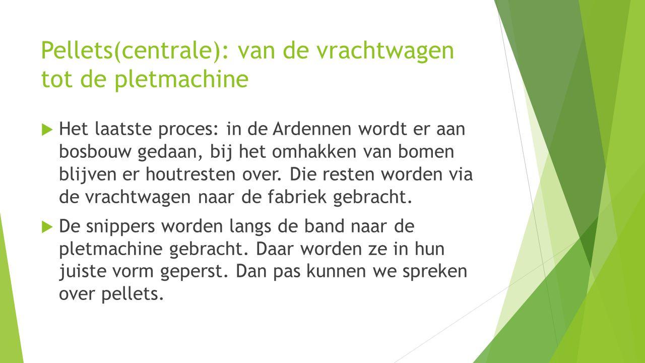 Pellets(centrale): van de vrachtwagen tot de pletmachine  Het laatste proces: in de Ardennen wordt er aan bosbouw gedaan, bij het omhakken van bomen