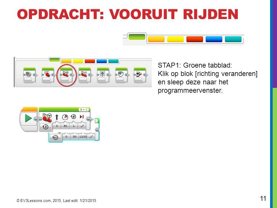 11 OPDRACHT: VOORUIT RIJDEN STAP1: Groene tabblad: Klik op blok [richting veranderen] en sleep deze naar het programmeervenster. © EV3Lessons.com, 201