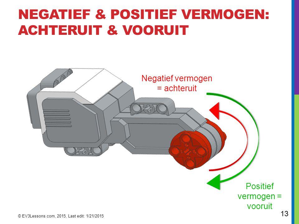13 NEGATIEF & POSITIEF VERMOGEN: ACHTERUIT & VOORUIT © EV3Lessons.com, 2015, Last edit: 1/21/2015 Negatief vermogen = achteruit Positief vermogen = vo