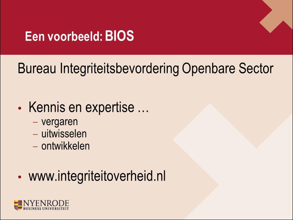 Een voorbeeld: BIOS Bureau Integriteitsbevordering Openbare Sector Kennis en expertise … − vergaren − uitwisselen − ontwikkelen www.integriteitoverheid.nl
