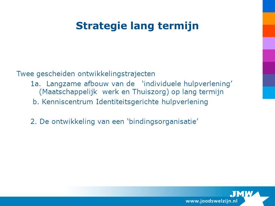 Strategie lang termijn Twee gescheiden ontwikkelingstrajecten 1a. Langzame afbouw van de 'individuele hulpverlening' (Maatschappelijk werk en Thuiszor
