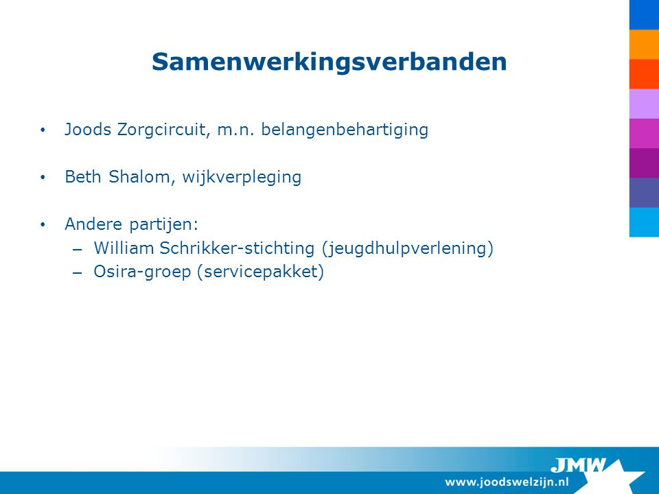 Samenwerkingsverbanden Joods Zorgcircuit, m.n.