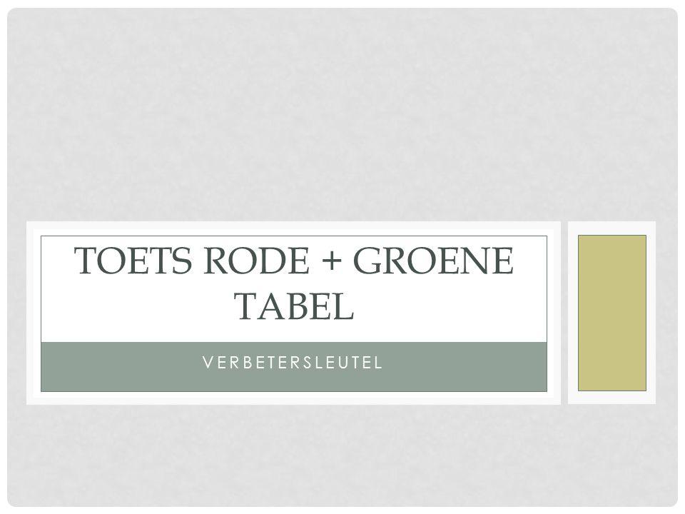 VERBETERSLEUTEL TOETS RODE + GROENE TABEL