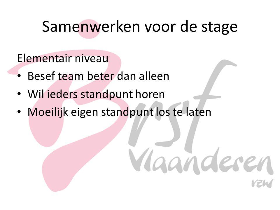 Samenwerken voor de stage Elementair niveau Besef team beter dan alleen Wil ieders standpunt horen Moeilijk eigen standpunt los te laten