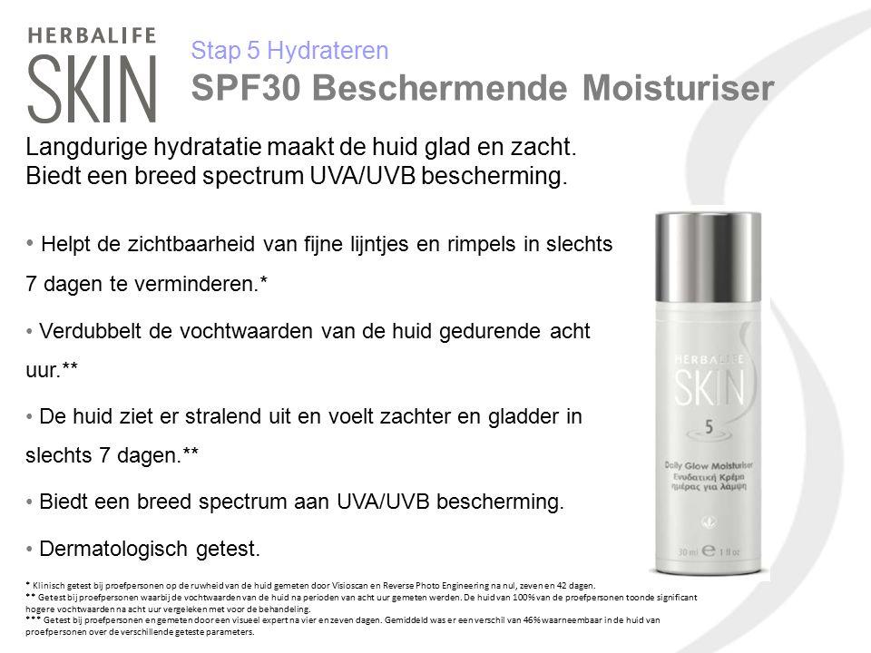 Stap 5 Hydrateren SPF30 Beschermende Moisturiser Langdurige hydratatie maakt de huid glad en zacht. Biedt een breed spectrum UVA/UVB bescherming. Help