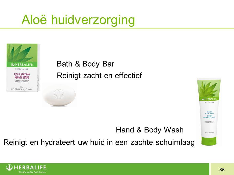 35 Bath & Body Bar Reinigt zacht en effectief Hand & Body Wash Reinigt en hydrateert uw huid in een zachte schuimlaag Aloë huidverzorging