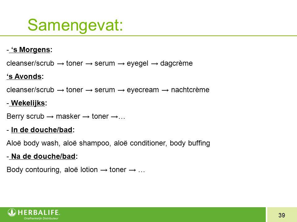 39 Samengevat: - 's Morgens: cleanser/scrub → toner → serum → eyegel → dagcrème 's Avonds: cleanser/scrub → toner → serum → eyecream → nachtcrème - We